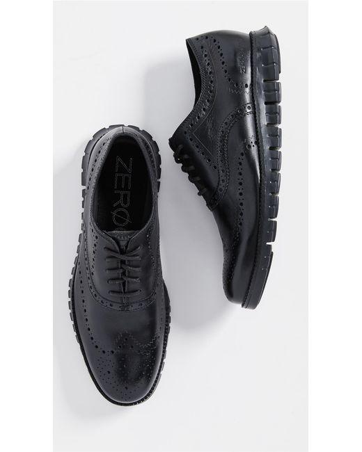 Cole Haan Black Zerogrand Wingtip Oxford Shoes for men