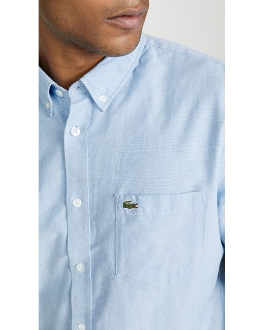 6dd73aad Lacoste Short Sleeve Button-down Oxford Shirt in Blue for Men - Lyst