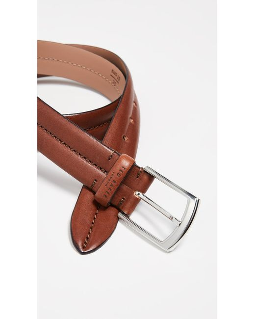 Ted Baker - Brown Stitched Leather Belt for Men - Lyst