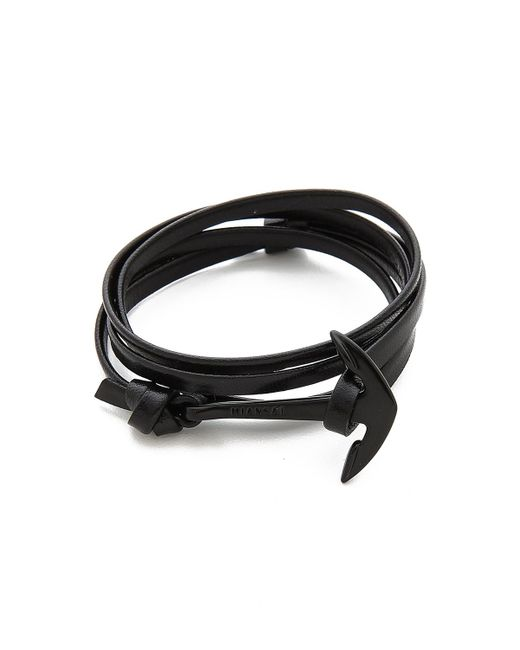 Miansai - Black Anchor Leather Wrap Bracelet for Men - Lyst