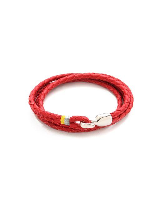 Miansai   Red Trice Woven Leather Wrap Bracelet for Men   Lyst