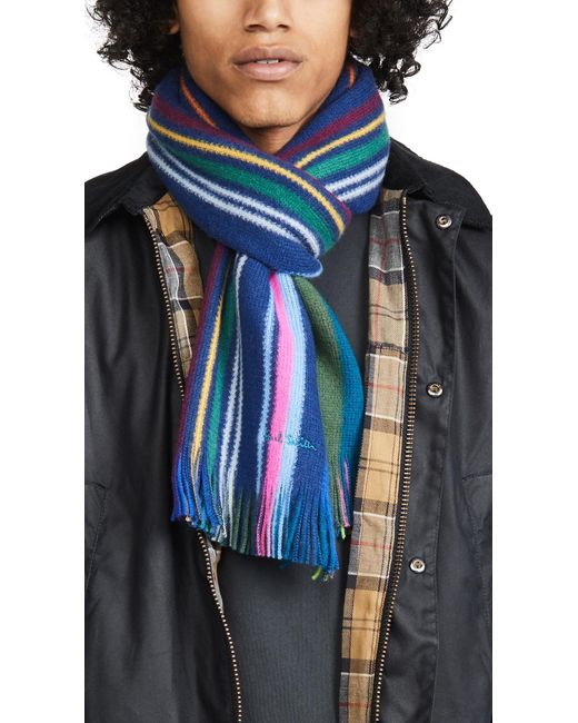 Paul Smith Blue Lionel Reversible Scarf for men