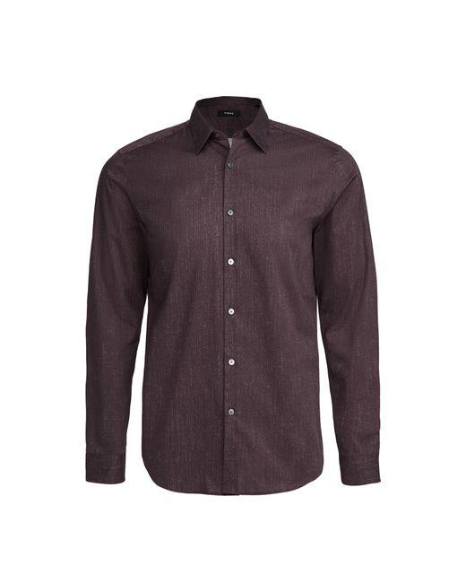Theory Purple Irving Pixelate Print Shirt for men