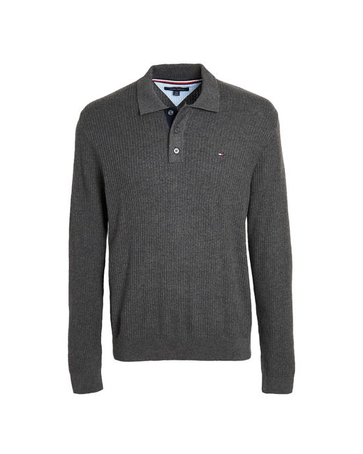 Tommy Hilfiger Gray Textured Polo Sweater for men