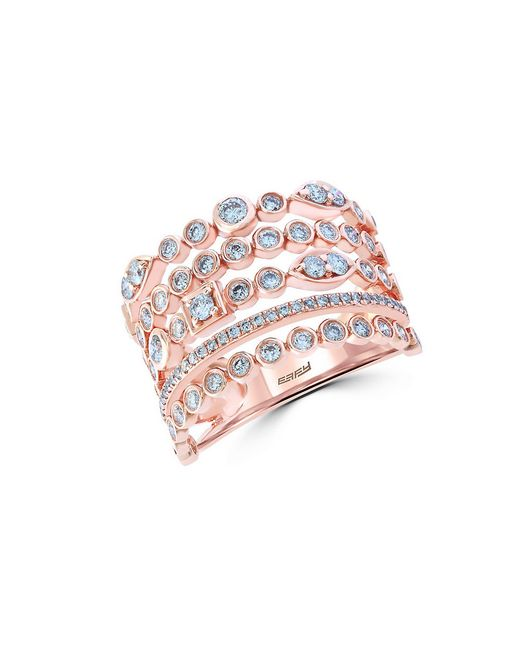 Effy | Pink Pave Rose Diamond And 14k Rose Gold Ring, 0.94 Tcw | Lyst