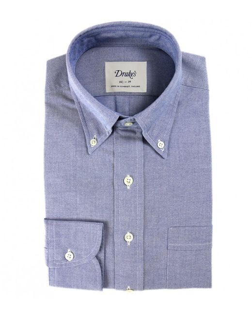 Drake 39 s blue oxford slim fit shirt with button down collar for Men s oxford button down shirts