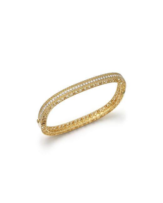 Roberto Coin | Metallic 18k Yellow Gold And Diamond Princess Bangle | Lyst