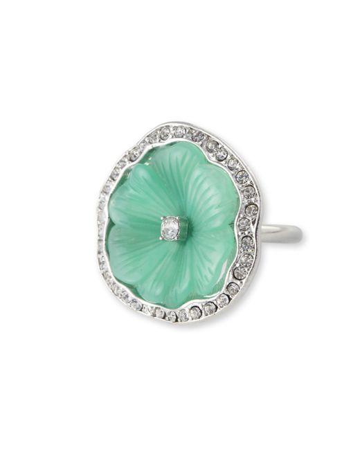 Kenneth Jay Lane | Green Jade Flower Ring | Lyst