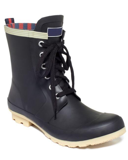 Tommy Hilfiger Womens Renegade Rain Booties In Black  Lyst-8615
