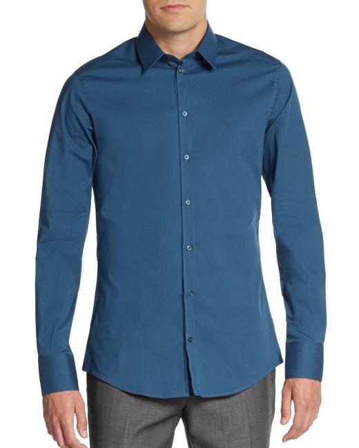 Dolce & Gabbana | Blue Regular-fit Stretch-cotton Sportshirt for Men | Lyst