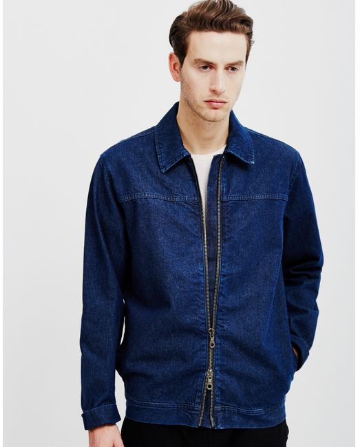 Adpt Edgar Denim Jacket With Zip Blue In Blue For Men | Lyst