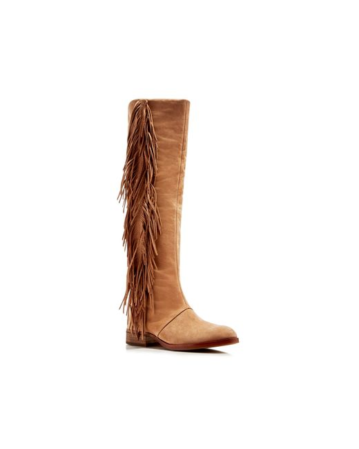 Sam Edelman Josephine Fringe Tall Boots In Brown (Golden