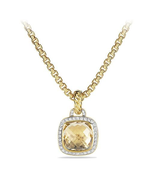 David Yurman | Metallic Pendant With Champagne Citrine And Diamonds With 18k Gold | Lyst