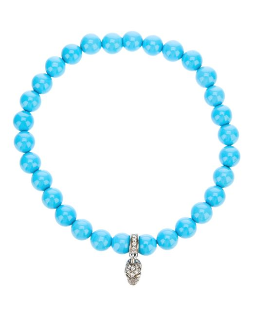 Loree Rodkin | Blue Turqoise Beaded Diamond Skull Charm Bracelet | Lyst