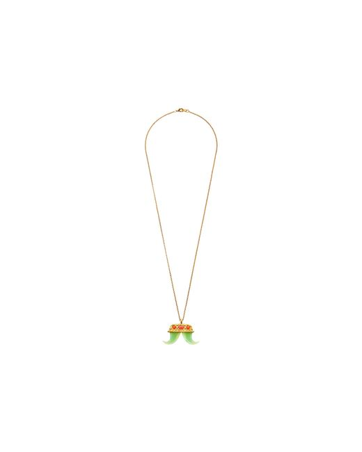 Kenneth Jay Lane | Pink Small Pendant Double Tusk Necklace | Lyst