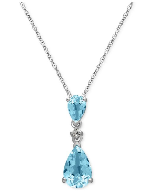 Macy's | Blue Aquamarine (1-1/2 Ct. T.w.) And Diamond Accent Pendant Necklace In 14k White Gold | Lyst