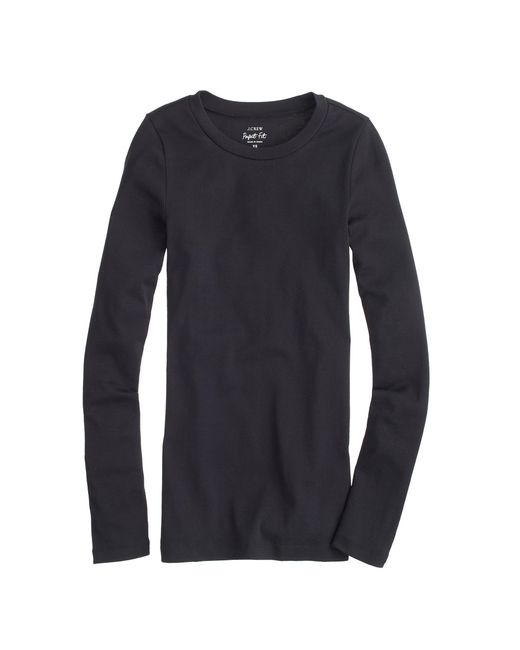 J.Crew | Black Petite Perfect-fit Long-sleeve T-shirt | Lyst