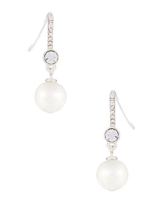 Lauren by Ralph Lauren | White Faux Pearl And Rhinestone Drop Earrings | Lyst