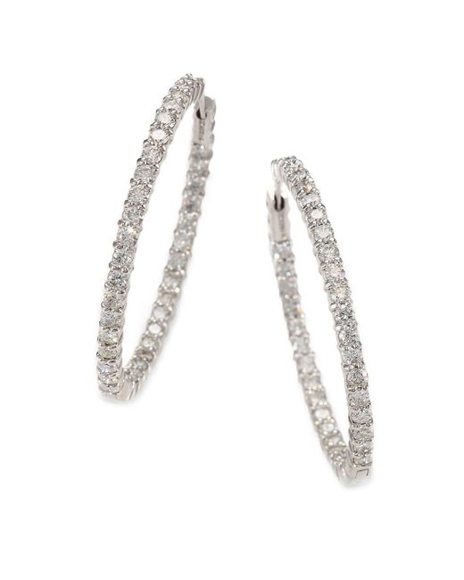 Roberto Coin | Metallic Diamond And 18k White Gold Hoop Earrings 1.4in. | Lyst