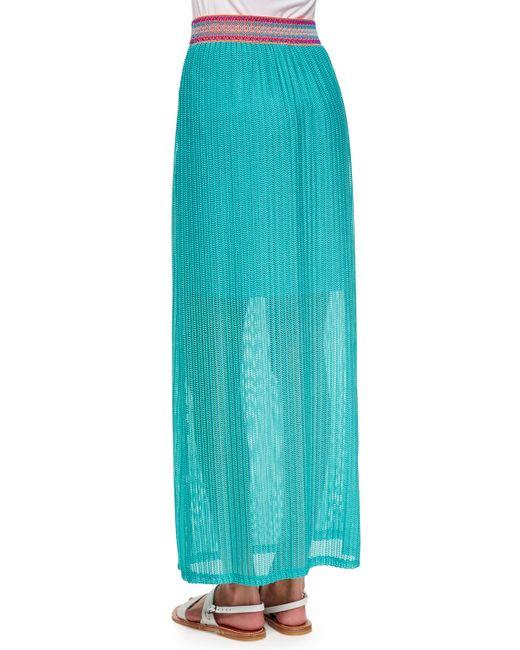 neiman marcus chevronpattern maxi skirt in blue jade lyst