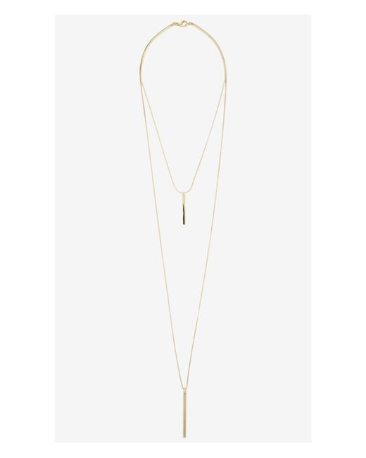 Express | Metallic Metal Stick Hi Lo Necklace | Lyst