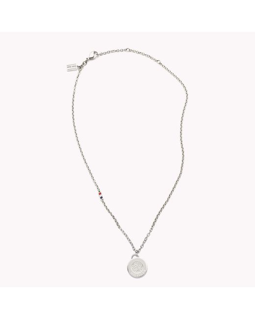 Tommy Hilfiger | Metallic Pave Coin Necklace | Lyst