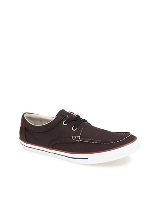timberland earthkeepers hookset boat shoe in black for