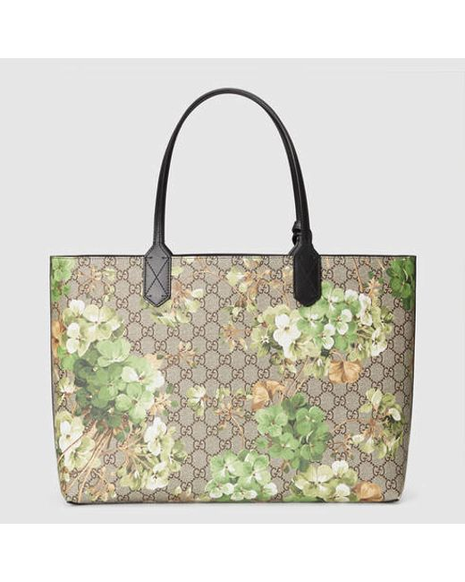 6e5a4dfd98a2 Gucci Reversible Gg Blooms Leather Tote in Multicolor (black leather) | Lyst