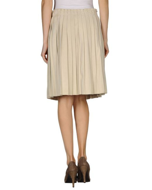 agnona leather skirt in beige save 47 lyst