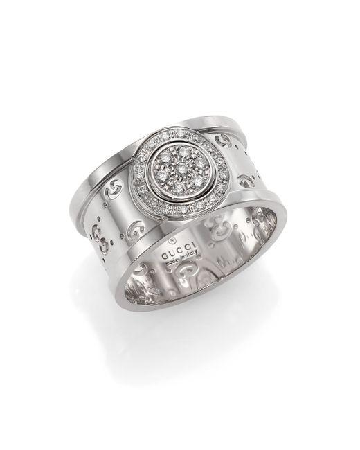 Gucci | Icon Twirl Diamond & 18k White Gold Medium Band Ring | Lyst