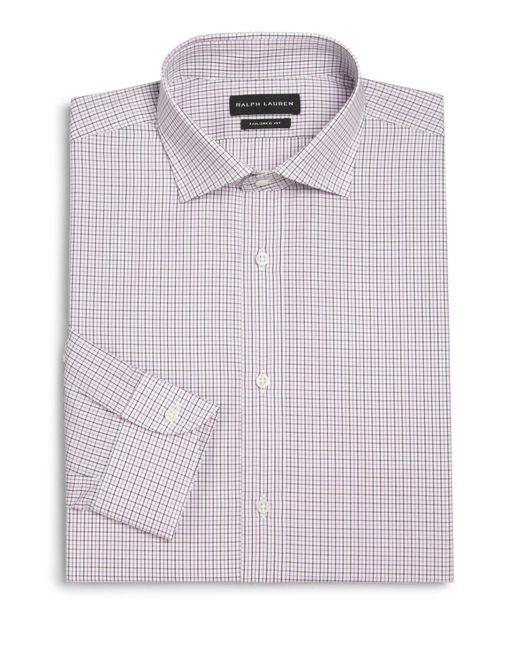 Pink pony black label tailored fit bond checked dress for Mens dark pink dress shirt