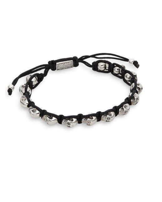 King Baby Studio   Metallic Skull Macrame Bracelet/silvertone for Men   Lyst