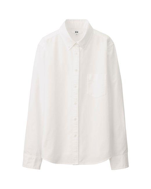 Uniqlo Women Oxford Long Sleeve Shirt In White Save 34