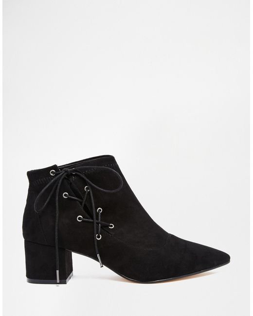 ASOS | Black Ronny Pointed Lace Up Ankle Boots | Lyst