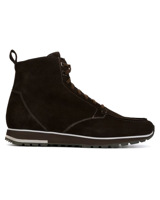 santoni suede lace up ankle boots in black for save