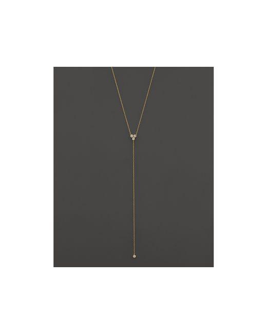 "Zoe Chicco | Metallic 14k Yellow Gold Diamond Trio Short Lariat Necklace, 16"" | Lyst"