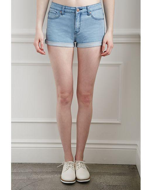 Forever 21   Blue Cuffed Denim Shorts   Lyst