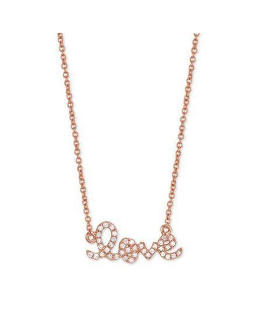 Sydney Evan - Pink Rose Gold Love Necklace - Lyst