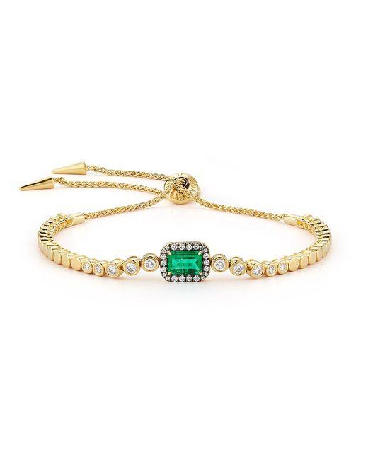 Jemma Wynne   Green Emerald And Diamond Slider Bracelet   Lyst