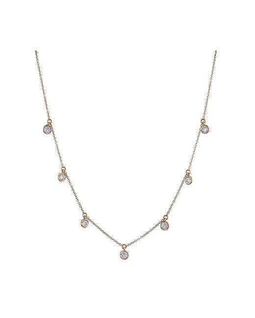 SHAY - Metallic Rose Gold Bezel Dangle Necklace - Lyst