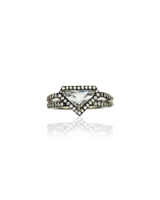 Jemma Wynne | Metallic Covet Rose Cut Diamond Shield Ring | Lyst