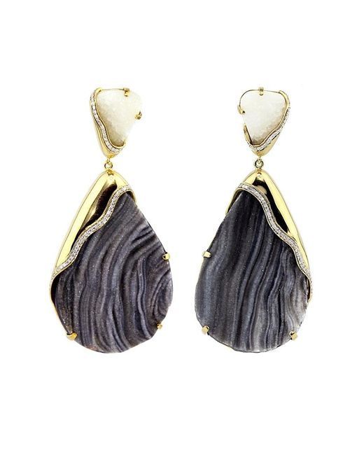 Kara Ross   Black Petra One-of-a-kind Cocina And White Quartz Drop Earrings   Lyst