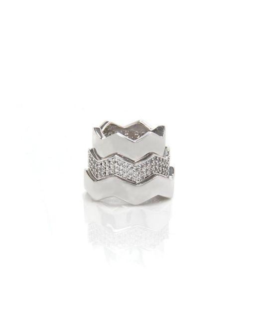 Eddie Borgo   Metallic Stackable Silver Zigzag Rings   Lyst