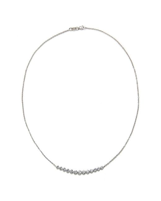 Anita Ko | Metallic White Gold And Diamond Crescent Necklace | Lyst