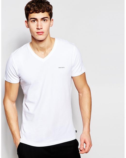 Diesel logo v neck t shirt in stretch cotton in slim fit for Mens diesel v neck t shirts