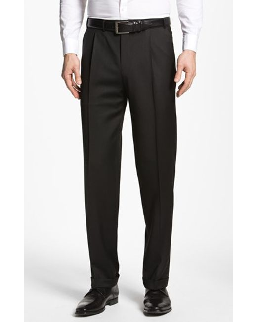 Canali | Black Pleated Trousers for Men | Lyst