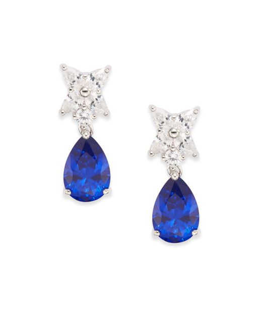CZ by Kenneth Jay Lane | Blue Flower & Pear Drop Earrings/silvertone | Lyst