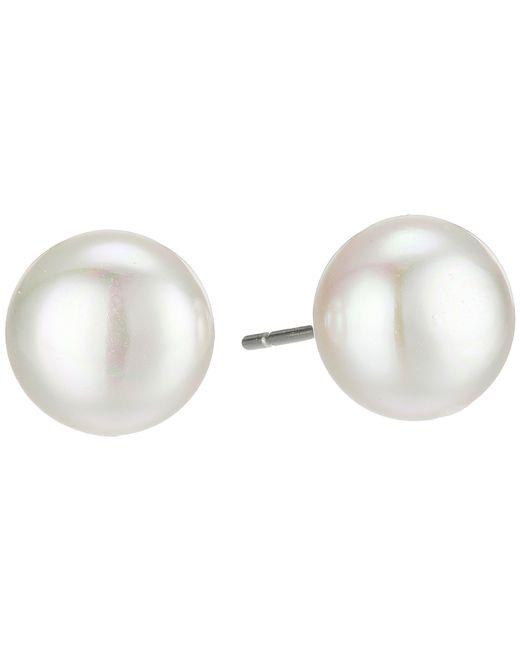 Majorica | White 10mm Flat Stud Earrings | Lyst