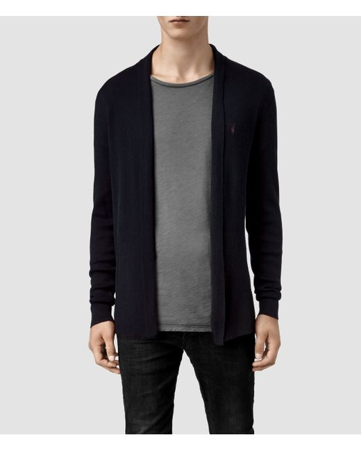 AllSaints | Blue Mode Merino Open Cardigan Usa Usa for Men | Lyst