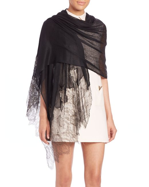 Valentino | Black Lace-trimmed Wool & Silk-blend Stole | Lyst
